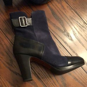 Chie Mihara navy suede and black leather boots